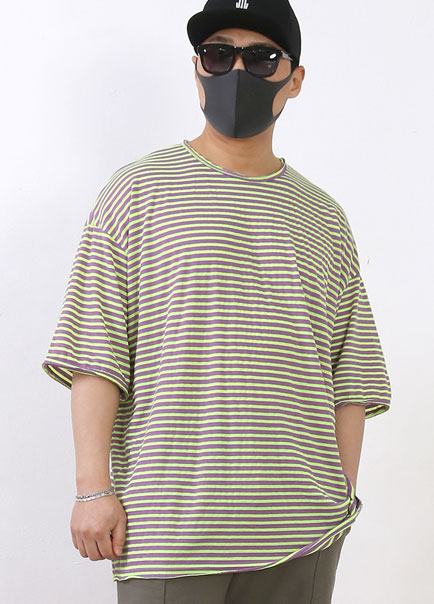 [파트너]CUTTING STRIPE OVER SHORT SLEEVE